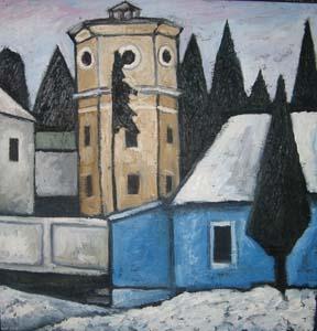 Илья Растатурин. Пейзаж с белым домом