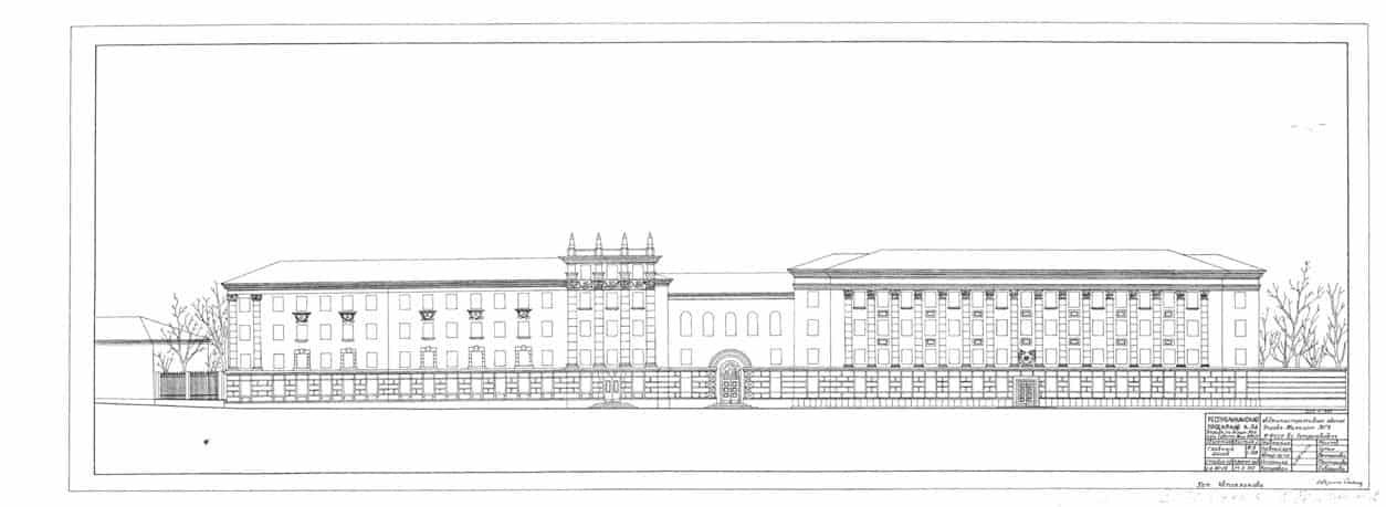 Вариант проекта пристройки к зданию МГБ. 1951. Автор – архитектор Э. Тентюкова
