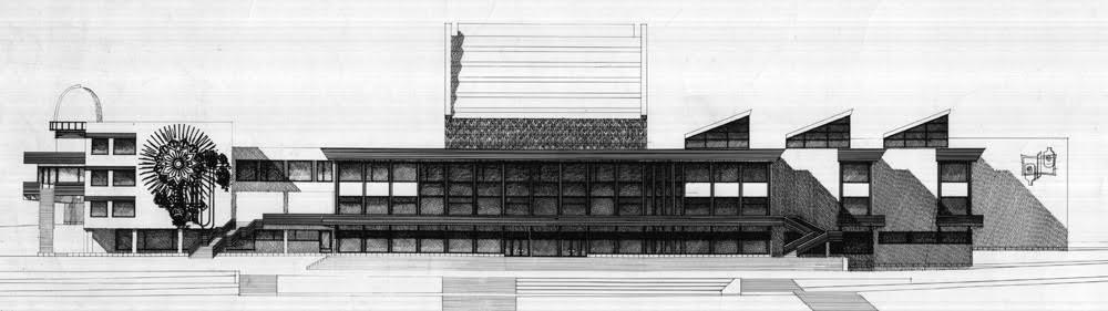 Главный фасад здания. Проект. На торце кружкового корпуса панно из керамической мозаики
