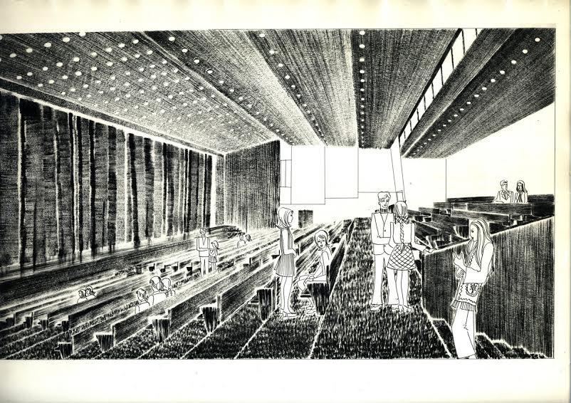 Интерьер большого зала. Рисунок архитектора Л. Мунасыповой