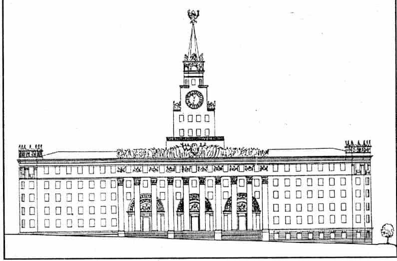 Один из проектов застройки квартала. Дом Советов, 1953 год