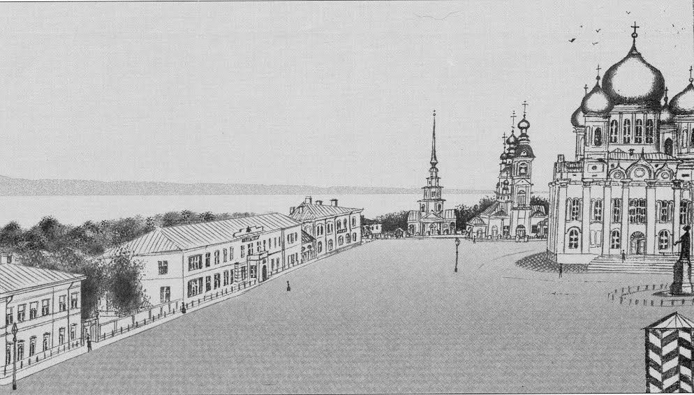 Соборная площадь в 1887 году. С рисунка неизвестного гимназиста