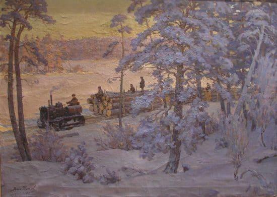 Зимняя тракторная лесовывозка. 1936
