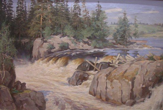 Водопад Гирвас на речке Сунна. 1912 - 1914