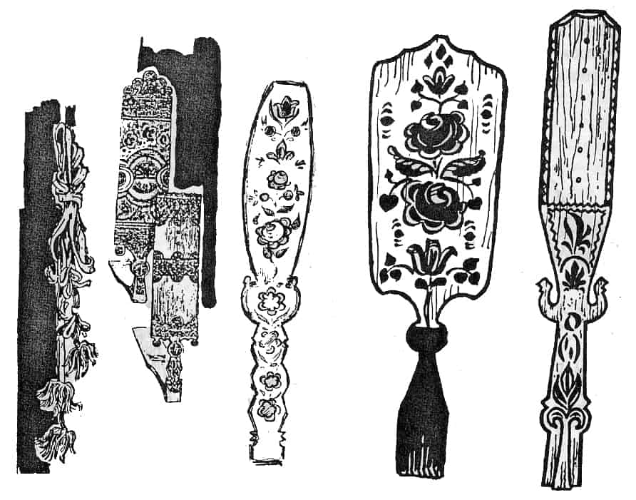 Каргопольский пояс, прялки и прялица