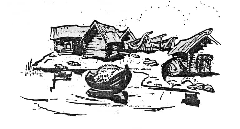 Рыбацкие амбары на берегу Белого моря