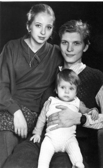 Илона Румянцева с мужем и сыном. 1990 год