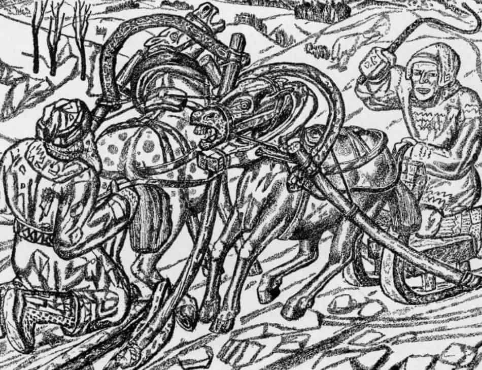 Михаил Цыбасов. Финский эпос «Калевала». Встреча Вяйнямейнена и Еукахайнена. 1932