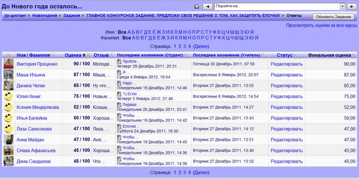 Рис. 4. Экран форума с ответами на задачи