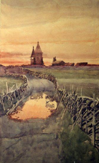 М. Мечев. Деревня Типиницы. Вознесенская церковь. 1956