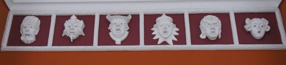 Савва Бродский. Маски на здании Музыкального и драматического театра РК