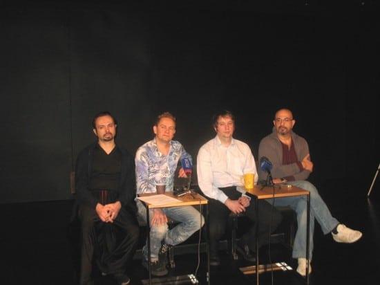 На пресс-конференции (слева направо) Андрей Харин, Вячеслав Поляков, Алексей Белов и Олег Липовецкий