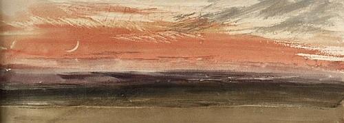 Джозеф Мэллорд Уильям Тёрнер. «Красное небо и лунный серп» (ок. 1818, деталь)