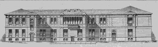 Главный фасад хирургического отделения. Проект Г. фон Голи, занявший первое  место