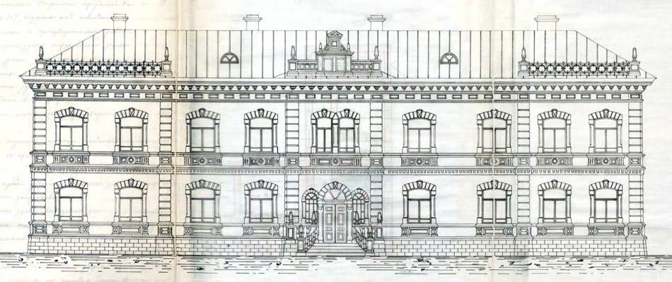 Проект В. Лядинского. Главный фасад хирургического отделения
