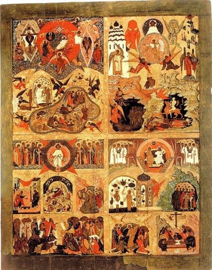 Четырёхчастная икона Благовещенского собора Московского Кремля. Включает  сюжет «Сопрестолие»