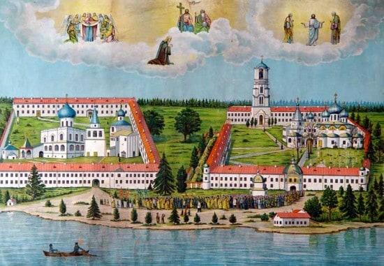 Александро-Свирский монастырь. Литография. Над ансамблем парит Святая Троица («Сопрестолие»)