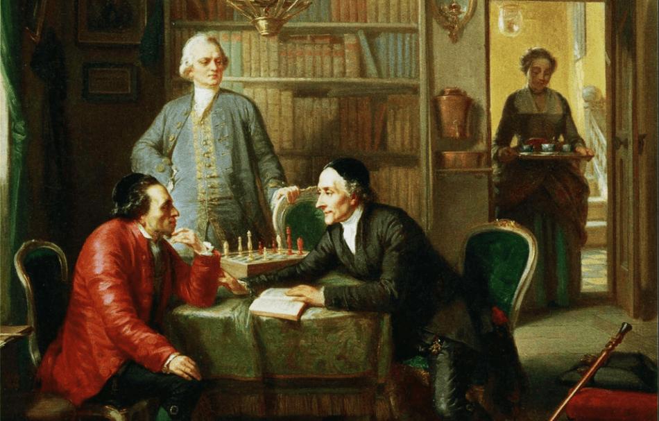 Картина М.Оппенгейма  «Визит Лессинга и Лафатера к Мозесу Мендельсону».