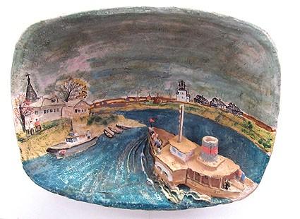 Эту работу Т. Чистякова назвала «Посвящение  Николаю Рубцову». Мне этот пейзаж напоминает чем-то вид с реки Сухона на старинную Тотьму, в техникуме которой учился поэт и которую всегда называл своей поэтической родиной