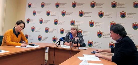 Елена Богданова на брифинге в правительстве Карелии