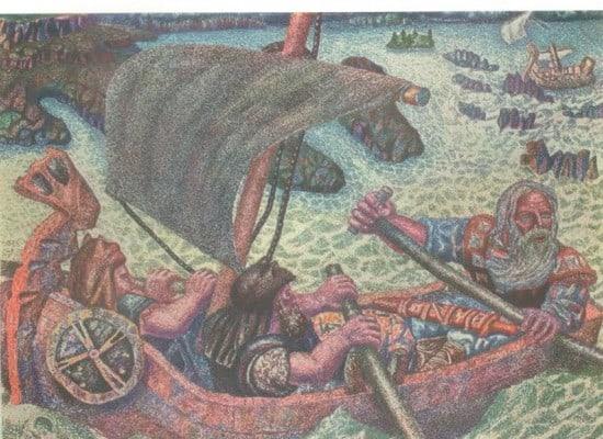 М. Цыбасов. Погоня за похитителями Сампо. Фронтиспис к «Калевале».  Л.: Academia, 1933