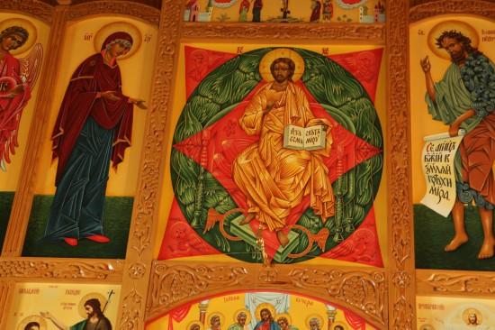 -Иконы из иконостаса церкви Зосимы, Савватия и Германа Соловецких. В центре «Спас в силах». 2005-2006