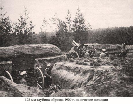 Гаубица образца 1909 года на огневой позиции