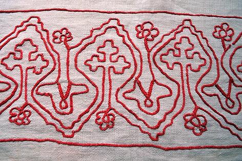 Экспонат из коллекции интерьерных тканей Кондопожского музея