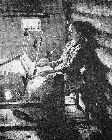 За тканьём. Фото из каталога выставки В.Н. Попова в Музее изобразительных искусств РК в 1963 году