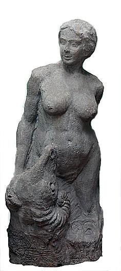 Марина Давыдовна Рындзюнская (?).  Девушка с барашком. 1913