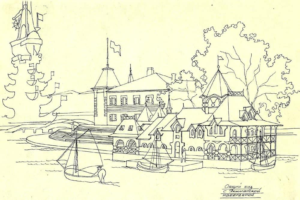 Эскизное предложение здания на плавучей платформе. Общий вид с Якиманской набережной. Москва