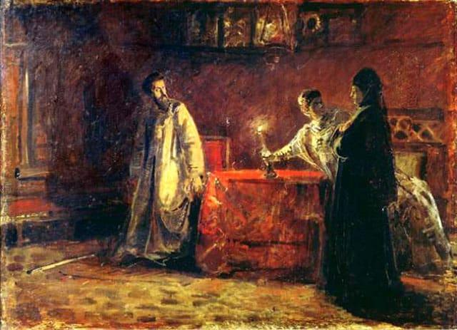 Николай Ге. Царь Борис и царица Марфа