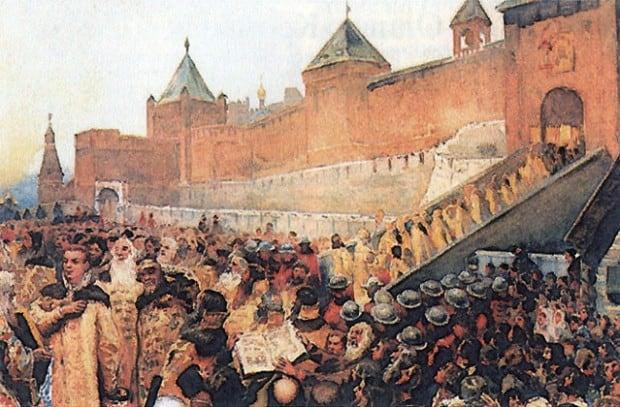 Вступление войск Лжедмитрия I в Москву, художник Клавдий Лебедев