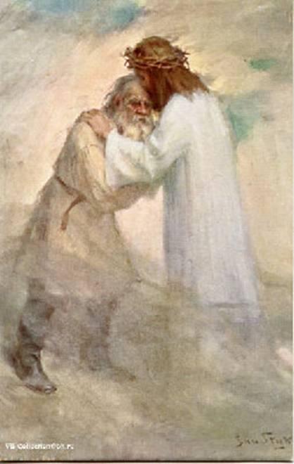 Ян Стыка. Иисус Христос, обнимающий Льва Толстого