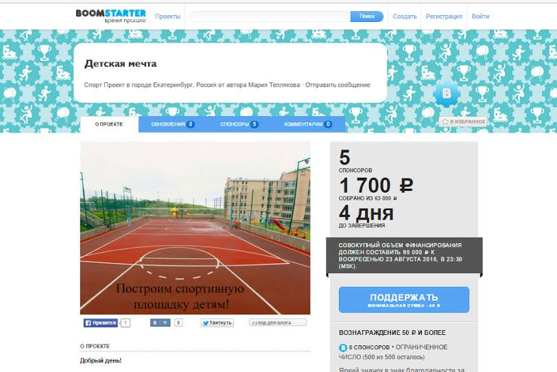 А «Детская мечта» не собирает необходимую сумму на постройку спортивной площадки для школы-интерната в Екатеринбурге