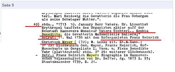 10 января 1713 года была крещена дочь органиста Фатера София Бенедикта. Её муж придворный органист города Ганновера Франц Генрих Кристоф Мейер.