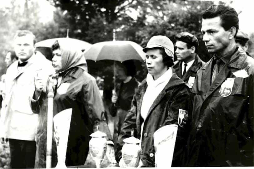 1-й Республиканский слёт школьных лесничеств. В центре П.В. Барская и В.П. Пантелеева. Сентябрь 1969 года