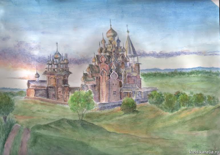 Кижский погост. Рисунок Милены Власовой, 14 лет