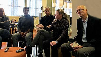 Итальянские и финские музыканты на пресс-конференции. Ведущая – Наталья Алуферова