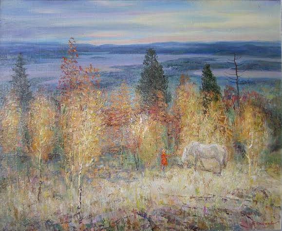 Борис Кукшиев. Пейзаж с белой лошадью