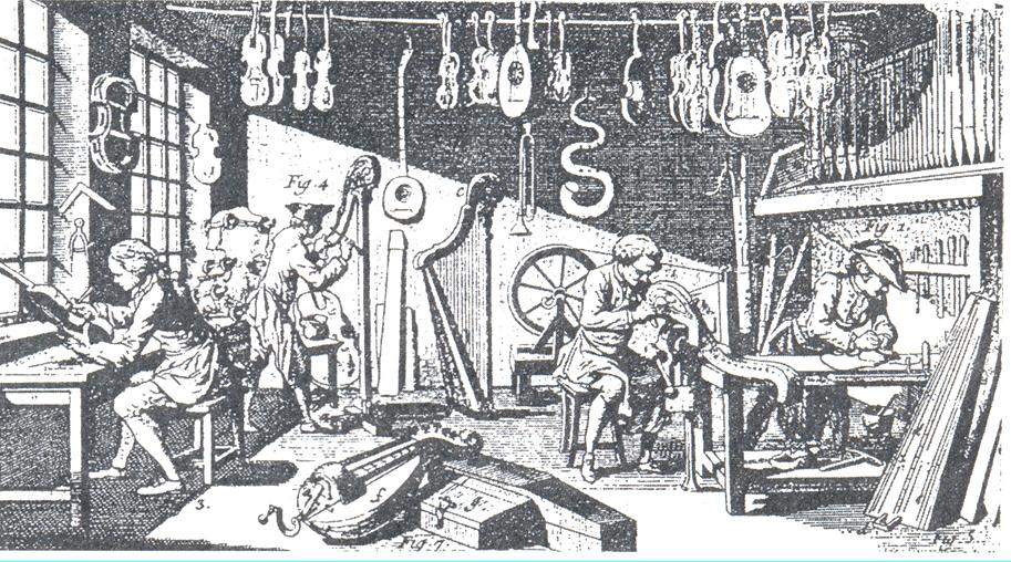 Мастерская музыкальных инструментов (кадр из презентации к уроку)