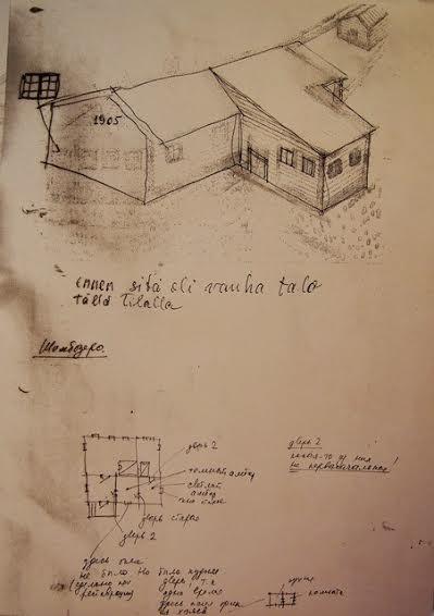 Рисунок дома Александры Степановой в деревне Шомбозеро. Часть дома была разобрана во время войны, когда строили укрепления