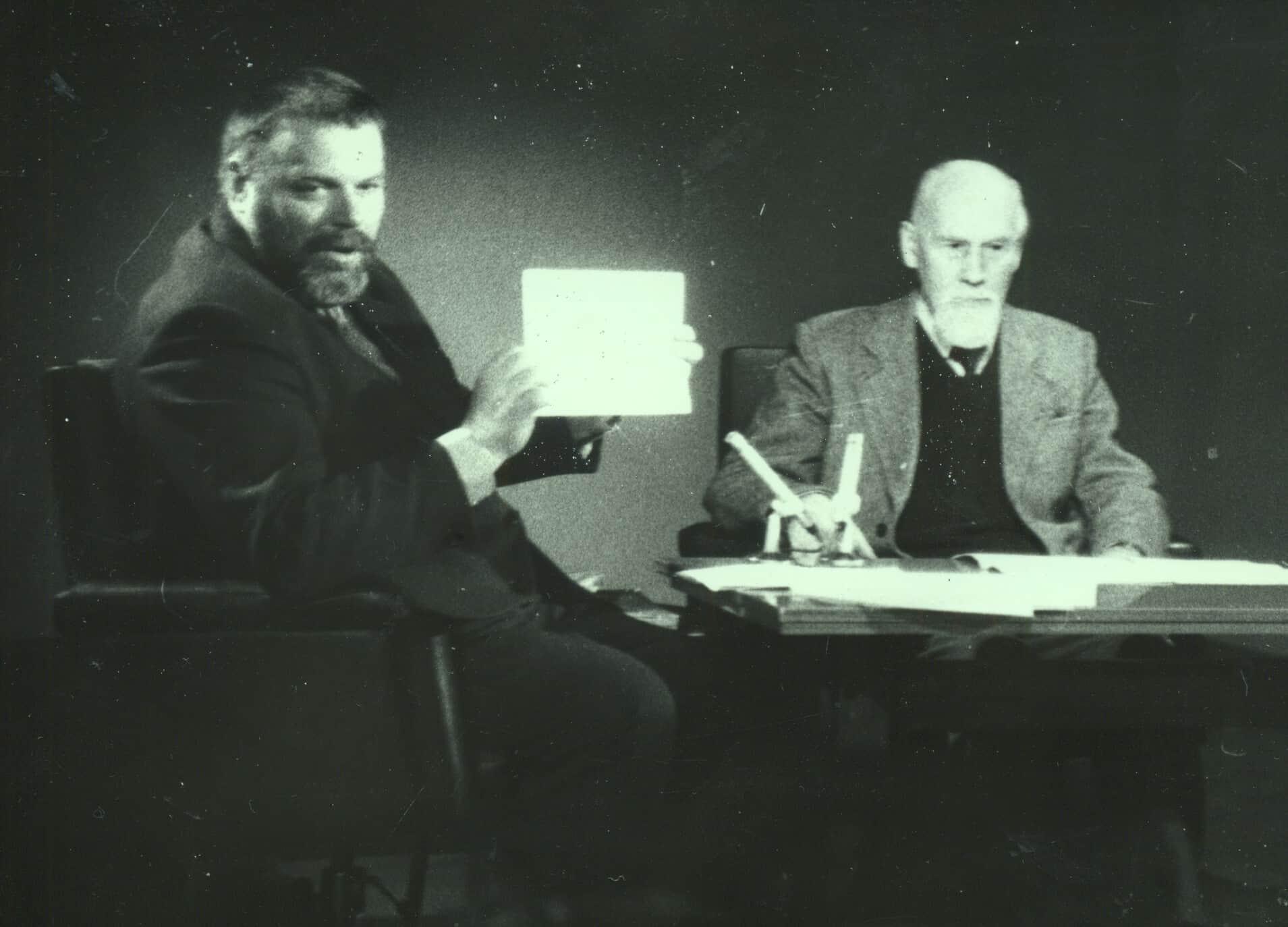 Ю.В.Линник и Б.А.Смирнов-Русецкий на Карельском ТВ. 1987 год