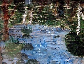 Ева Рогалева, 15 лет. Национальная школа искусств Пряжинского района. «Мое святое озеро – Святозеро». Пейзаж акварелью на бересте