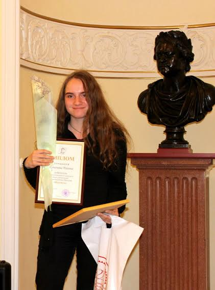 Лауреат конкурса Полина Кононова (Петрозаводск) отмечена за стихотворение на вепсском языке