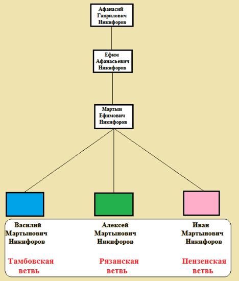 схема ветвей рода Никифоровых