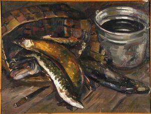 Авдышева Валентина Михайловна. 1931-1975. Натюрморт с рыбой. 1966