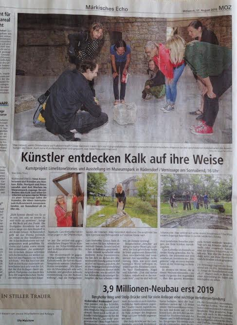 Публикация о проекте в газете Märkische Oderzeitung