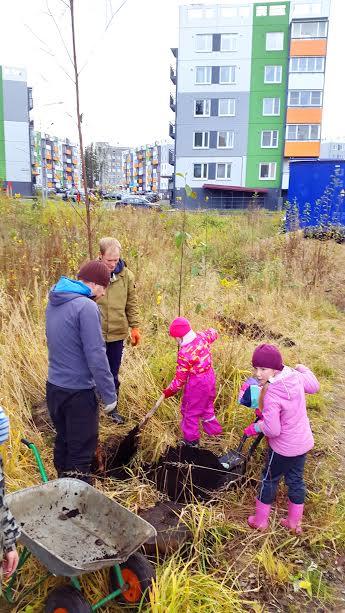 Акция по посадке деревьев в Городе Солнца, Петрозаводск. Фото Натальи Козловской