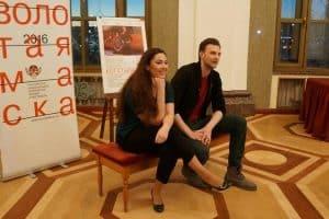 Янина Соколовская и Максим Керин на пресс-конференции в Петрозаводске